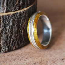 Bentwood Ring,Lace wood with Silver and Tiger eyes inlay, Men's Wood Ring - $95.00