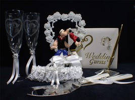 POPEYE Sailor Navy Wedding Cake topper LOT Glasses  server Guest book pen garter - $147.51