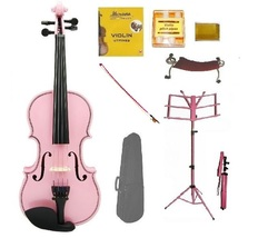 Crystalcello 4/4 Size Acoustic Pink Violin , Pink Stick Bow, Pink Music Stand - $70.00