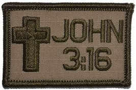 John 3:16 With Cross 2x3 Bible Patch (Coyote Brown) - $4.89