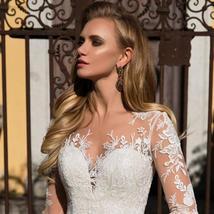Long Sleeve Appliques Lace A-line Button Up Back Floor Length Princess Wedding G image 3