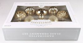 Wondershop 10 Piece Handcrafted Gold Glass Christmas Tree Ornaments Set NEW BOX image 3