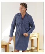 Mens Brushed Cotton Stripe Nightshirt Navy Blue By Champion Size UK M-XXXL - $20.24