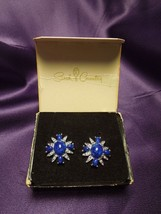 Sarah Coventry Earrings Signed Silver Tone Blue Starburst Clip On w/ original bx - $31.19