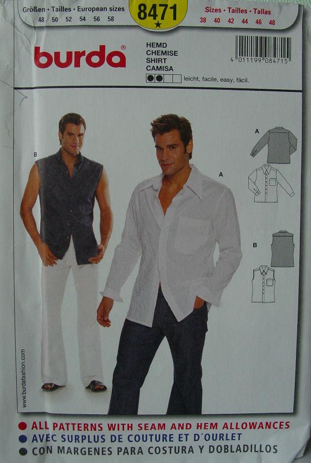 "Pattern 8471 Men's sz 38-48"" Chest Sleeveless and Long Sleeved Shirt"