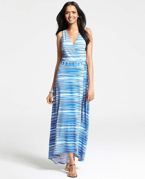 21c77019c18 Ann Taylor Aquastripe Crossover Maxi Dress