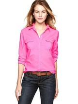 Gap Fitted Boyfriend Double Pocket shirt, neon pink, size M, NWT - $35.00