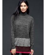 Gap Stripe snap turtle-neck sweater, cinnamon candy, size L - $52.00