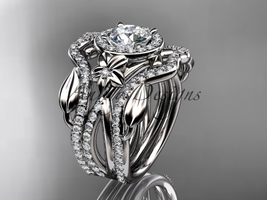 14kt white gold diamond wedding ring, Moissanite, double matching band ADLR89S   - $3,345.00
