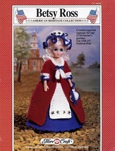 Betsy Ross, Fibre Craft Crochet American Heritage Doll Clothes Pattern FCM202 - $4.69