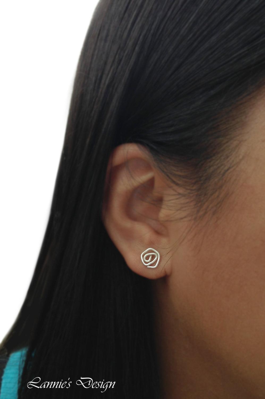 Antiqued Brass Wire Rose Stud Earrings