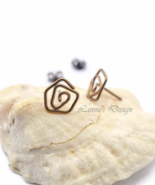 Antiqued Brass Wire Rose Stud Earrings - $16.90
