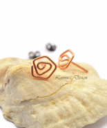 Copper Wire Rose Stud Earrings - $16.90
