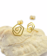 Brass Gold Wire Rose Stud Earrings - $16.90