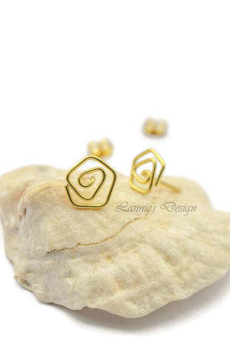 Brass Gold Wire Rose Stud Earrings