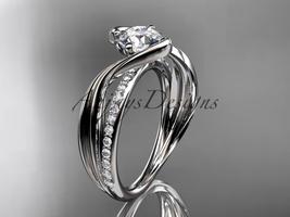 Platinum  diamond  engagement ring with  Moissanite center stone ADLR78 - $1,535.00