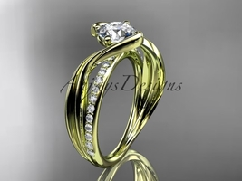 14kt yellow gold diamond  engagement ring with  Moissanite center stone ADLR78 - $1,535.00