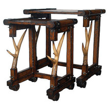 Fabulous Wood and Resin Antler Nesting Table,Set of Two. - $717.75