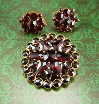 Antique BOHEMIAN GARNET Brooch and earrings  Cluster star brass Red clip on tear - $650.00