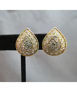Monet Rhinestone Earrings Comfort Clip Gold Pla... - $19.78