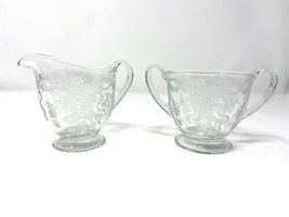Vintage Fostoria Crystal Glass Romance Pattern Etched Cream and Sugar Bo... - $24.74