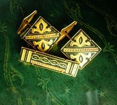 Damascene Cufflinks Tie clip set Vintage Hinged Backs Wedding 24kt gold  kilates - $135.00