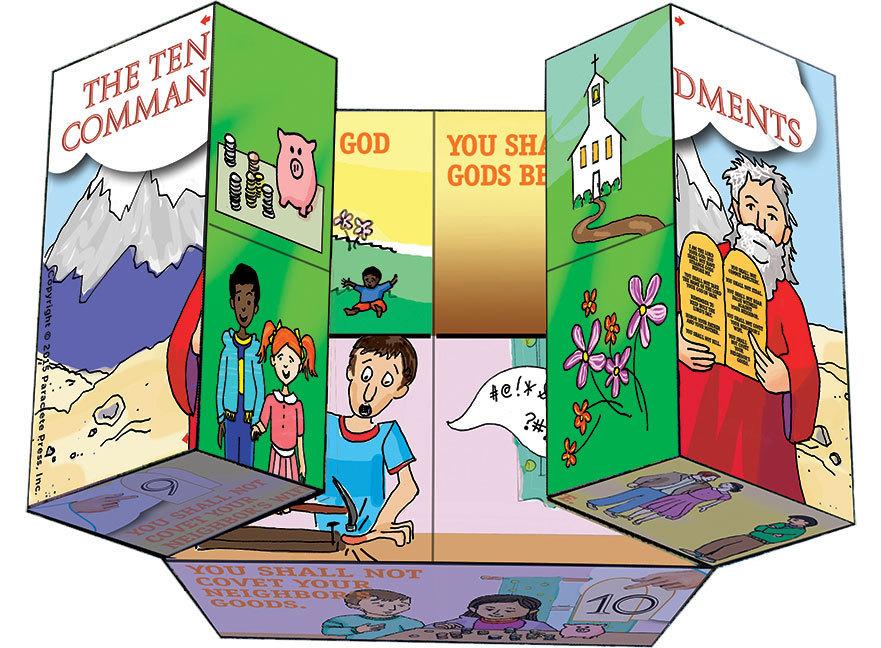 Ten commandments prayer cube