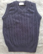 Lord Jeff Mens Solid Navy Blue V-Neck Sweater Vest Sz Medium EUC 100% Co... - $12.19
