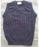 Lord Jeff Mens Solid Navy Blue V-Neck Sweater Vest Sz Medium EUC 100% Co... - $4.99