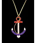 HUGE Navy Anchor necklace - LARGE Vintage rhinestone anchor - Military p... - $95.00