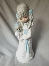 Tall Ceramic Prarie Girl Dog Yorkie Puppy Brown Eyed Victorian Dress Blue - $19.39