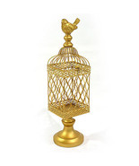 Vintage Style Gold Metal Bird Cage.5'' x 18.5''H. - £73.96 GBP