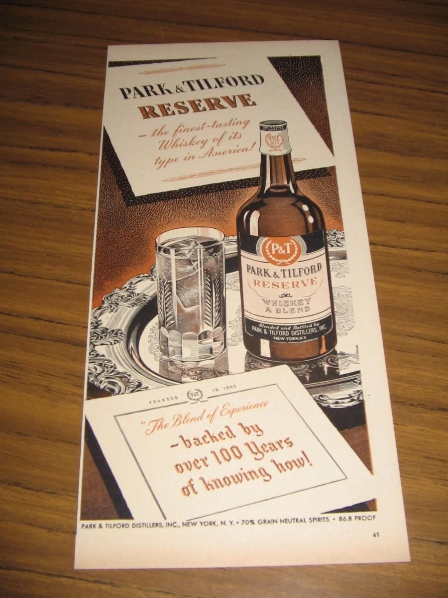 1947 print ad park amp tilford reserve whiskey the finest