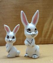 Vintage Miniature Porcelain White Rabbits /Easter Decor /Bunnies With Pi... - $10.00