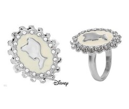 DISNEY COUTURE CINDERELLA CAMEO/CLEAR SWAROVSKI CRYSTAL RING**SZ 8**RARE... - $27.99