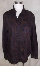 Chaps Shirt Top Large Navy Blue Paisley - $18.99