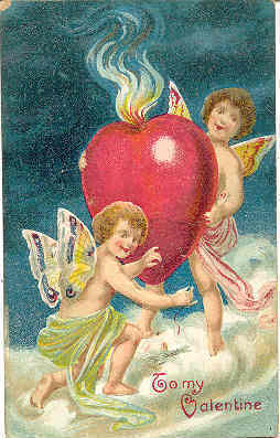 Primary image for Cupids Giving Their Heart Vintage Post Card