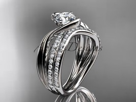 14kt white gold diamond leaf and vine wedding ring, engagement set ADLR78S - $2,535.00