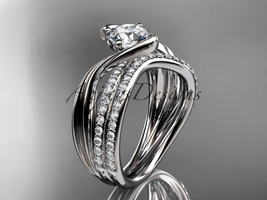 Platinum  diamond leaf and vine wedding ring, engagement set ADLR78S - $3,335.00