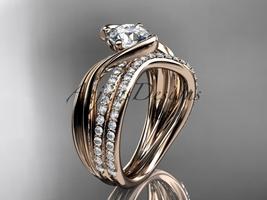 14kt rose gold diamond leaf and vine wedding ring, engagement set ADLR78S - $2,535.00