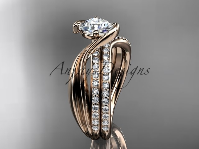 14kt rose gold diamond leaf and vine wedding ring, engagement set ADLR78S