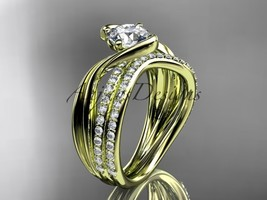 14kt yellow gold diamond leaf and vine wedding ring, engagement set ADLR78S - $2,535.00