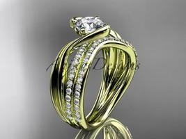 14kt yellow gold diamond leaf and vine wedding ring, engagement set ADLR78S - $2,535.00