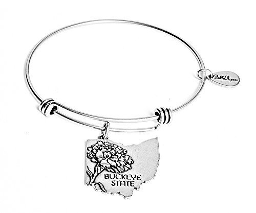 State of Ohio Charm Bangle Bracelet (silver-plated-base) [Jewelry]