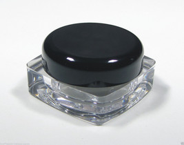 Small Plastic Cosmetic Containers 100 Square Beauty Jars Black Cap 5 Gra... - $54.95
