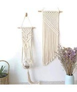 Bouqlife Macrame Wall Hanging Plant Hanger 2pcs Set, Bohemian Cotton Cor... - €25,19 EUR