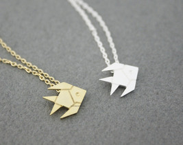 Cute Origami Tropical Fish, Gold Fish necklace in 2 colors, N0537G - $11.50