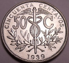 Large Rare Gem Uncirculated Bolivia 1939 50 Centavos~Only Year Made~Free... - $9.40