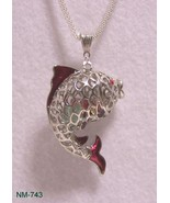 NM-743 - Silver Plated 3D Filigree Fish W/Red E... - $22.28