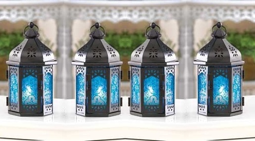 4 Ocean Blue Candle Lanterns Holders Iron And Glass Party Patio Indoor  Outdoor